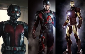 From Left to Right: Ant-Man, Atom, Iron Man